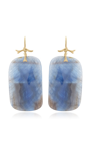 Medium annette ferdinandsen blue large natural sapphire slices hanging from golden branch