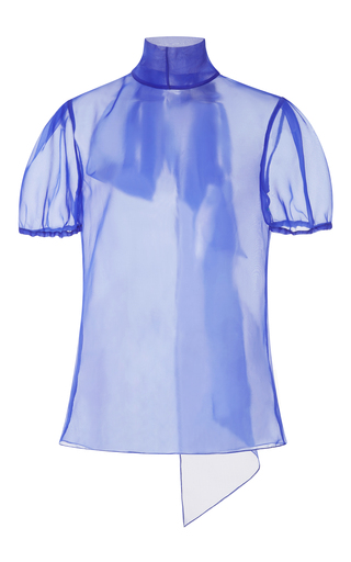Medium bibhu mohapatra blue sheer short sleeve bow top