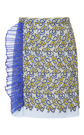 Medium bibhu mohapatra multi pleated trim lace skirt