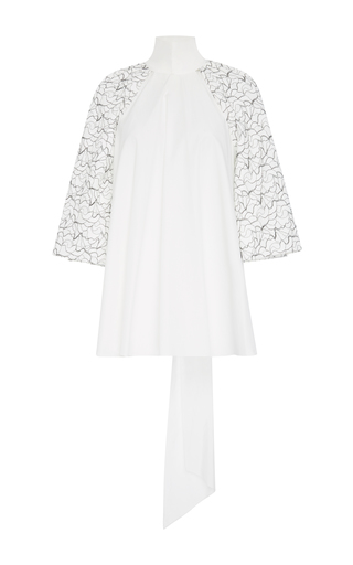 Medium bibhu mohapatra white lace sleeve bell top