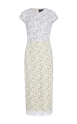 Medium bibhu mohapatra multi lace color blocked dress