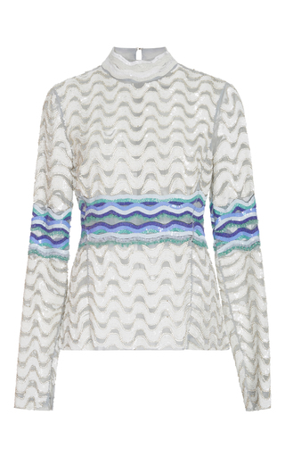 Medium bibhu mohapatra white embroidered long sleeve top