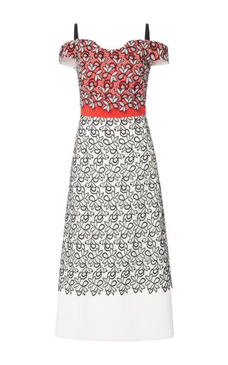 Medium bibhu mohapatra multi color blocked lace dress