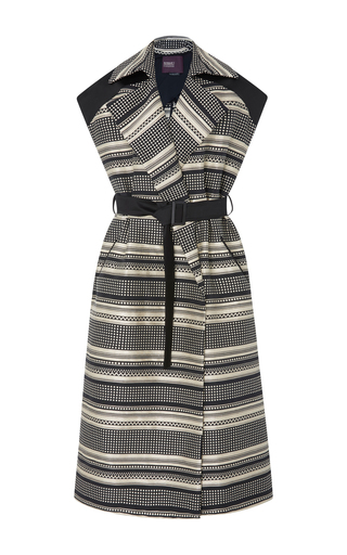 Medium bibhu mohapatra black white jacquard stripe long vest