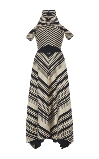 Medium bibhu mohapatra stripe multi stripe cold shoulder midi dress