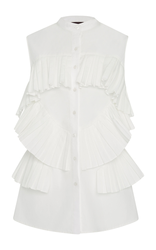 Medium bibhu mohapatra white pleated sleeveless top