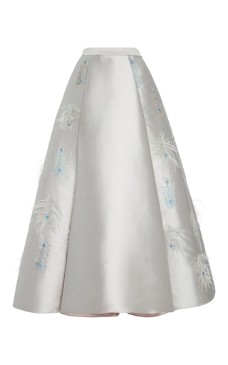 Medium bibhu mohapatra grey embroidered feather long skirt