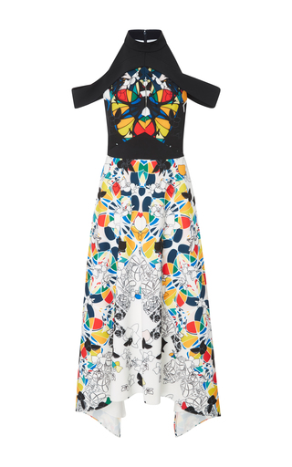 Medium bibhu mohapatra print stained glass printed cold shoulder dress