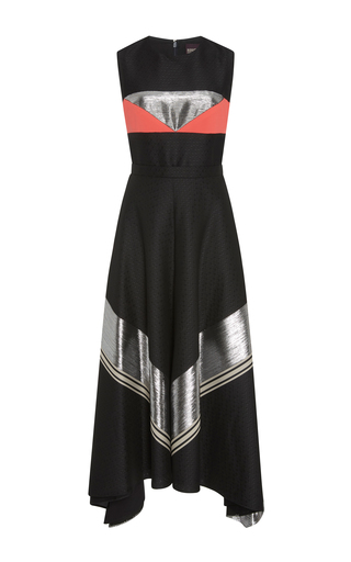 Medium bibhu mohapatra black sleeveless jacquard midi dress