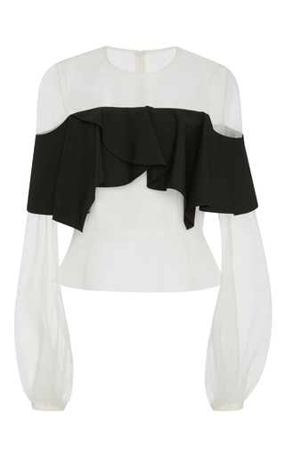 Medium bibhu mohapatra black white color blocked cotton ruffle top