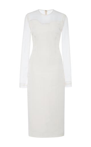 Medium bibhu mohapatra white sheer sleeve belted dress