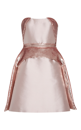 Medium bibhu mohapatra pink strapless embroidered mini dress