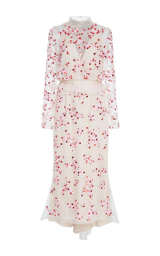 Medium bibhu mohapatra white embroidered long sleeve midi dress