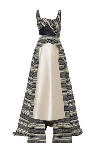 Medium bibhu mohapatra multi jacquard train gown