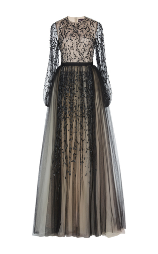 Medium bibhu mohapatra black tulle embroidered gown
