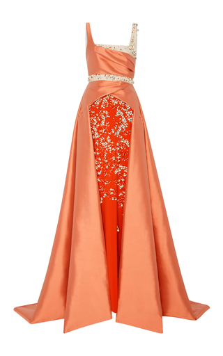Medium bibhu mohapatra pink embroidered train gown