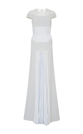 Medium bibhu mohapatra blue illusion off the shoulder short sleeve gown