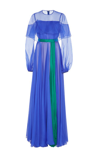 Medium bibhu mohapatra blue two tone long sleeve gown