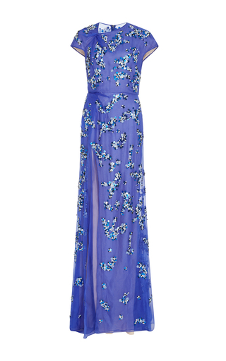 Medium bibhu mohapatra blue embroidered short sleeve gown