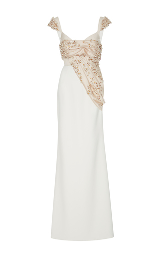 Medium bibhu mohapatra white embroidered column gown