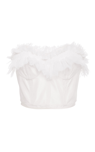 Medium emilio de la morena white eve ruffle trim bustier