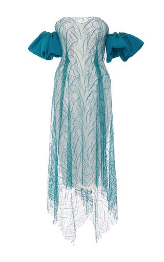 Medium emilio de la morena blue eve strapless lace overlay dress