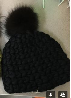 Medium mischa lampert black standard beanie with extra large fox fur pompom