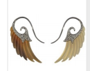 Medium noor fares brown fly me to the moon wing earrings in horn lt dk with black gold gray diamonds asymmetric