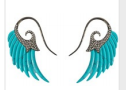 Medium noor fares blue fly me to the moon wing earrings in turquoise with black gold grey diamonds