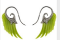 Medium noor fares green fly me to the moon wing earrings in jade with black gold grey diamonds