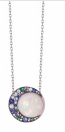 Medium noor fares multi tilsam pendant eclipse in opal with grey black gold various stones on a 45cm grey gold chain