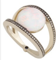 Medium noor fares white geometry 101 opal rhombus ring in grey black gold white diamonds