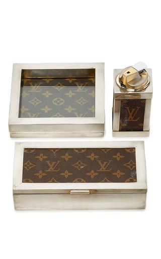 Medium mantiques modern brown vintage louis vuitton desk set