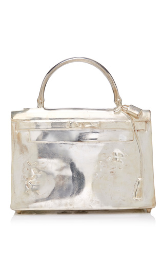 Medium mantiques modern silver nickel plated bronze hermes kelly bag sculpture by french artist christian maas