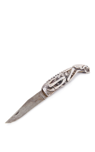 Medium mantiques modern silver sterling and damascus custom made knife by jean marc laroche