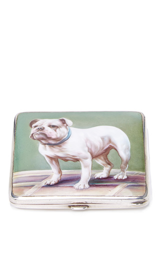 Medium mantiques modern green sterling silver and enamel bulldog cigarette case circa 1915