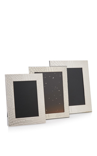 Medium mantiques modern silver set of 3 christofle sterling silver embossed croc picture frames