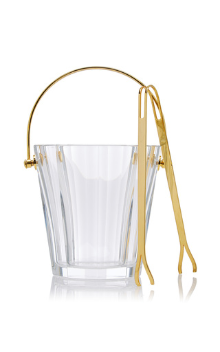 Medium mantiques modern gold baccarat crystal ice bucket with original tongs