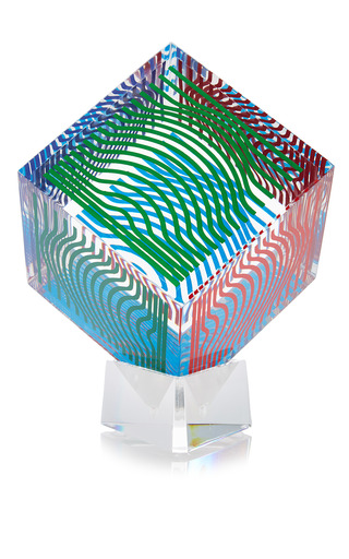 Medium mantiques modern neutral lucite art cube by victor vasarely
