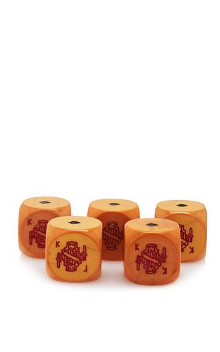 Medium mantiques modern yellow set of 5 bakelite art deco poker game dice