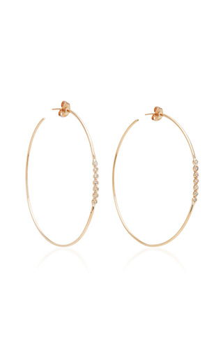 Medium jacquie aiche gold 7 diamond bezel hoops