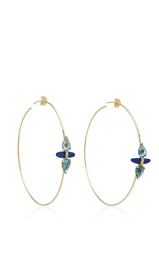 Medium jacquie aiche blue pave double blue topaz teardrop opal slice hoops