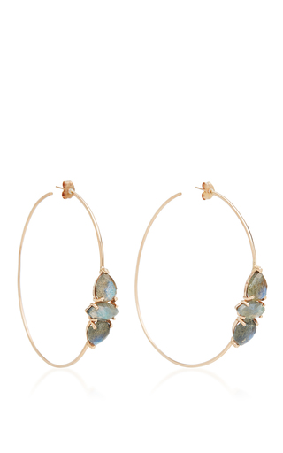 Medium jacquie aiche grey double labradorite teardrop and marquise hoops