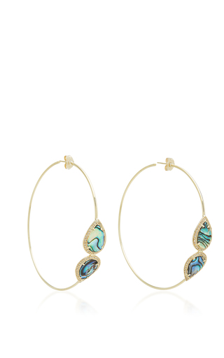 Medium jacquie aiche green pave mirrored abalone teardrop hoops