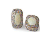 Medium fabio salini multi earrings with opals gold and pave set fancy sapphires
