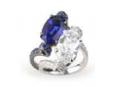 Medium fabio salini blue ring assolo with titanium blue sapphires and diamonds