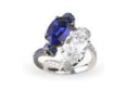 Medium fabio salini blue ring assolo with moonstone gold and diamonds