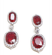 Medium bayco red ruby diamond earrings