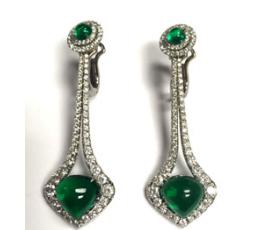 Medium bayco green emerald diamond earrings