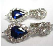 Medium bayco blue sapphire diamond earrings